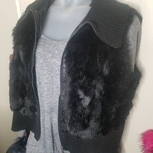 Jackets & Blazers - Black fur plus size sweater vest